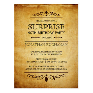 Vintage Paper   Surprise Birthday Party Typography Postcard