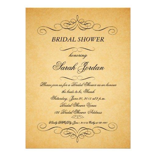 Vintage paper swirls bridal shower invitation 6 5 x for Classic bridal shower invitations