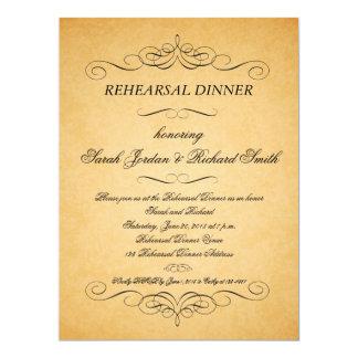 Vintage Paper Swirls Rehearsal Dinner Invitation