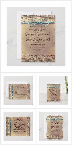 Vintage Paper Twine Bow Wedding Invitation Set