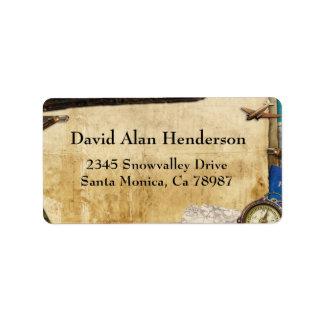 Vintage Paper World Travel Address Label