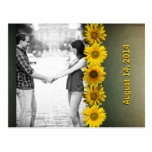 Vintage Paper Yellow Sunflower Photo Save the Date Post Card