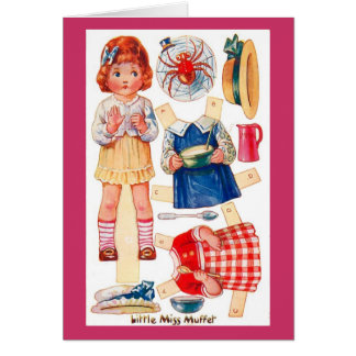 Vintage Paperdoll Little Miss Muffet greeting card