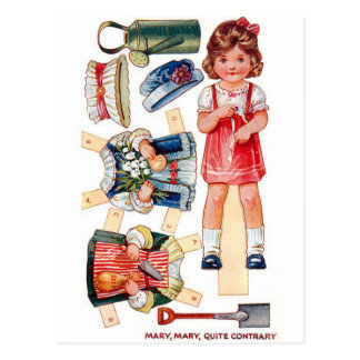 Vintage Paperdoll Mary, Mary Quite Contrary Card