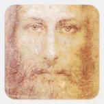 vintage papyrus portrait of Jesus Christ healing Square Sticker