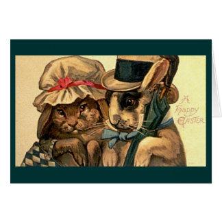 Vintage - par del conejito de pascua tarjeta de felicitación