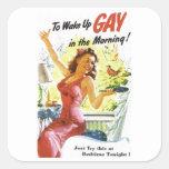 """Vintage """"para despertar al gay """" pegatinas cuadradas"""