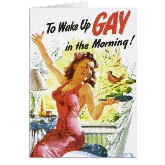 """Vintage """"para despertar al gay """" tarjeta de felicitación"""