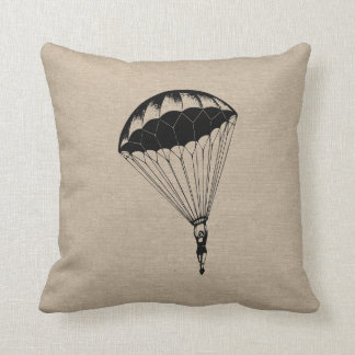 Vintage parachute linen burlap steampunk circus throw pillow