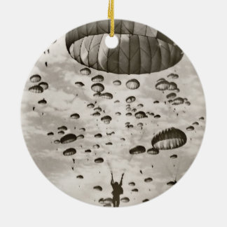 Vintage Paratrooper in the Sky Ceramic Ornament