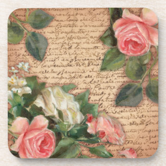 Vintage parchment and shabby chic Roses Beverage Coaster
