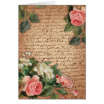 Vintage parchment and shabby chic Roses Card