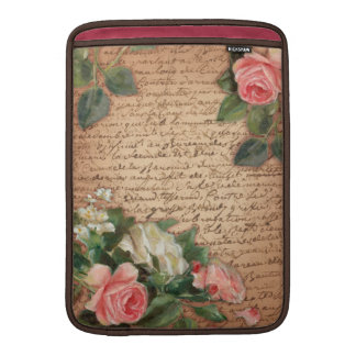 Vintage parchment and shabby chic Roses MacBook Sleeve