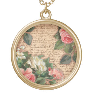 Vintage parchment and shabby chic Roses Round Pendant Necklace