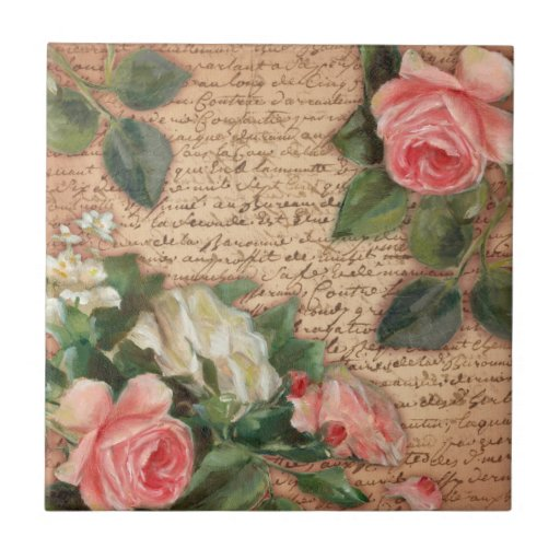 Vintage parchment and shabby chic roses tile for Shabby chic wall tiles