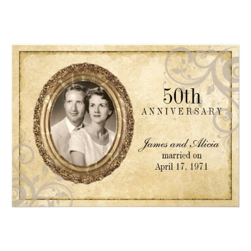 Vintage Parchment Anniversary Invitation (front side)