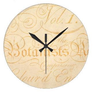 Vintage Parchment Antique Paper w Embellished Text Large Clock