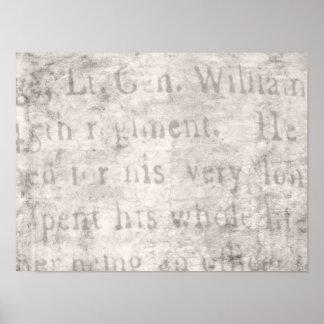 Vintage Parchment Antique Text Template Blank Poster