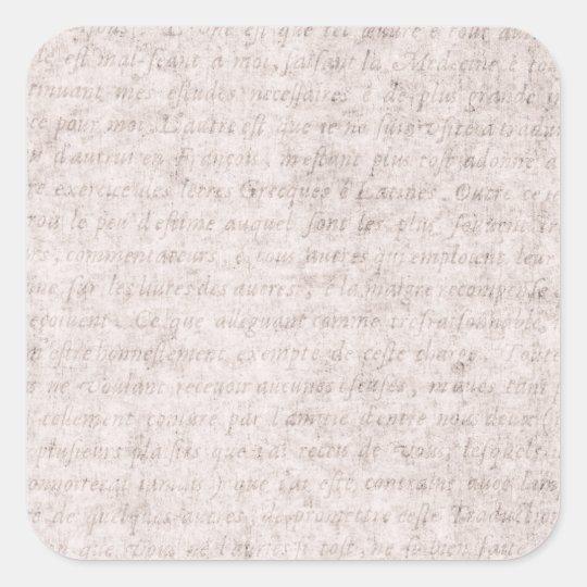 Vintage Parchment Antique Text Template Blank Square Sticker