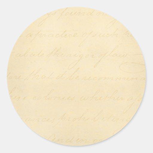 Vintage Parchment Antique Text Template Blank Round Sticker