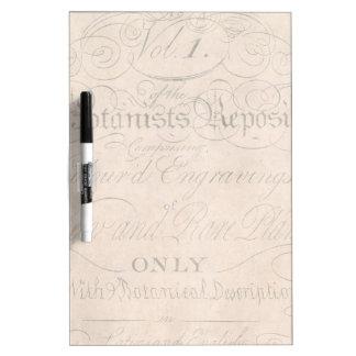 Vintage Parchment Botanical Script 1700s Template Dry-Erase Boards