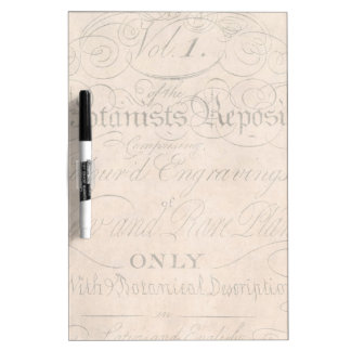 Vintage Parchment Botanical Script 1700s Template Dry Erase Whiteboard