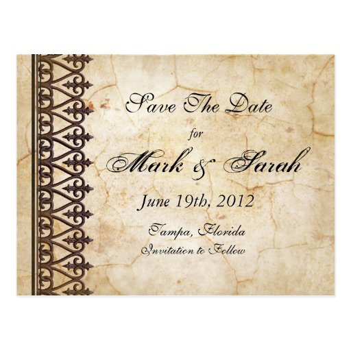 Vintage Parchment Collection Save The Date Post Card