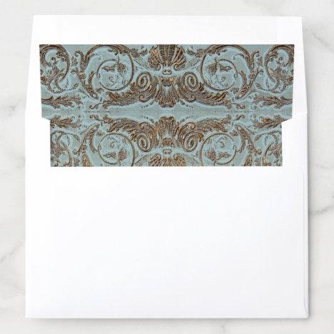 Vintage Parchment Gold Look Wedding Stationery Envelope Liner