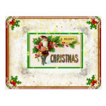Vintage Parchment Holiday Santa Postcard