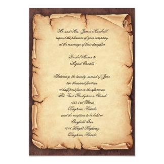 "Vintage Parchment Invitation 5"" X 7"" Invitation Card"