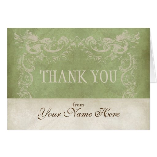 Vintage parchment look business thank you notes greeting for Thank you card for business