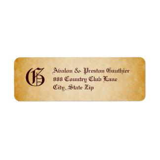 Vintage Parchment Monogram Halloween Address Label