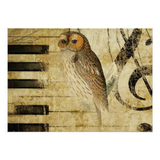 Vintage Parchment ~  Owl on Piano Poster