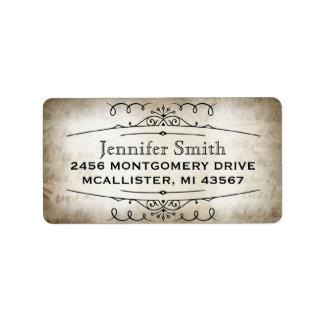 Vintage parchment paper script address label
