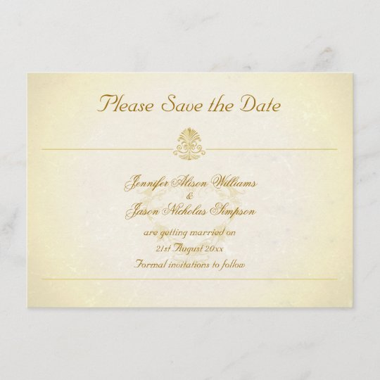 Vintage Parchment Paper Style Save The Date Zazzle Com