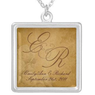 Vintage Parchment Roses - Wedding Monogram Pendant