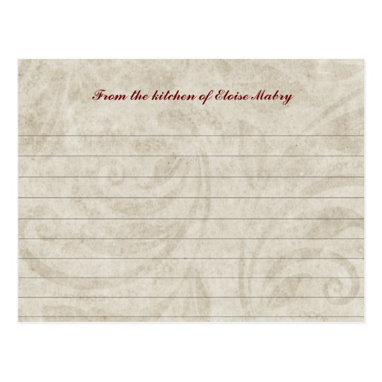 Vintage Parchment Swirl Personalized Recipe Cards