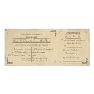 Vintage Parchment Ticket Wedding Invite and RSVP