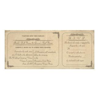 Vintage Parchment Ticket Wedding Invite and RSVP