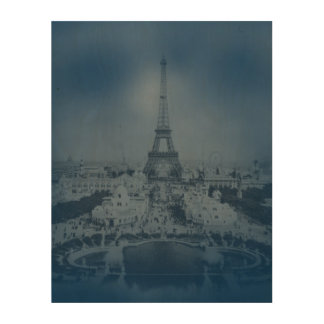 Vintage Paris and Eiffel Tower Wood Print