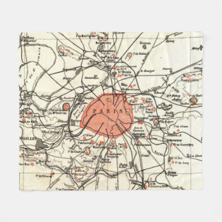 Vintage Paris and Surrounding Area Map (1890) Fleece Blanket