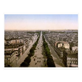 Vintage Paris, Avenue des Champs-Élysées panorama Postcard