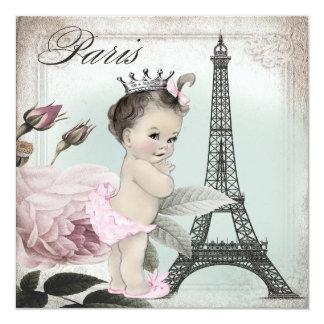 Vintage Paris Baby Shower 5.25x5.25 Square Paper Invitation Card