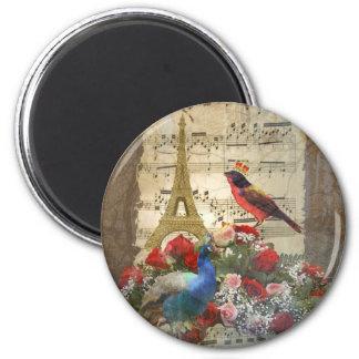 Vintage Paris & bird music sheet collage 2 Inch Round Magnet