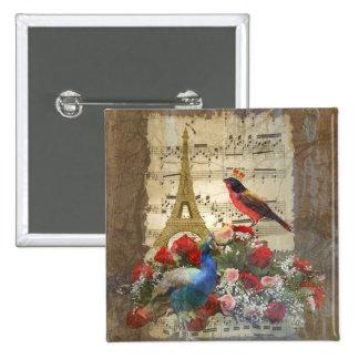 Vintage Paris & bird music sheet collage Buttons