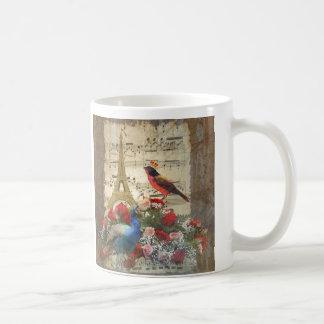 Vintage Paris & bird music sheet collage Coffee Mug