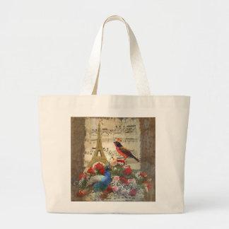 Vintage Paris & bird music sheet collage Large Tote Bag
