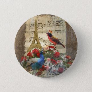Vintage Paris & bird music sheet collage Pinback Button