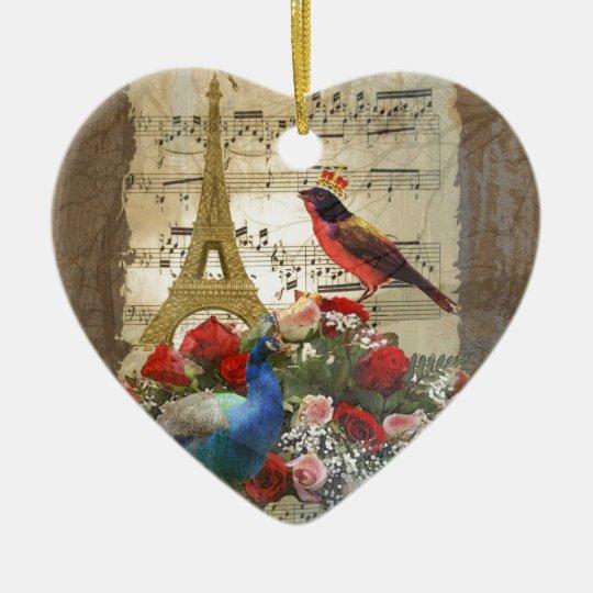 Vintage Paris & birds music sheet collage Ceramic Ornament
