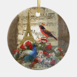 Vintage Paris & birds music sheet collage Double-Sided Ceramic Round Christmas Ornament